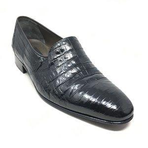 Mauri Loafers Shoes Size 8 Black Full Alligator